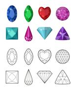 Gems and cut line set. Different facets for crystals. Jewelry collection is.. Stock Illustration