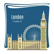 London landmarks detailed illustration Stock Illustration