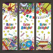 Happy Birthday greeting banners with celebration elements Stock Illustration