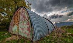Tin shelter on mountains Stock Photos