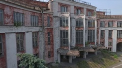 Flying over the Soviet ruined palace Stock Footage
