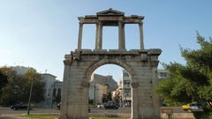 4K Arch of Hadrian Commuters rush hour Traffic Athens Greece Stock Footage