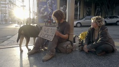 Homeless couple with we're fucked sign and pet dog street sitting on street LA Stock Footage