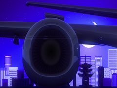 Kyoto Japan Airplane Take Off Moon Night Blue Skyline Travel Stock Footage