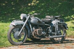 Rarity Three-Wheeled Motorcycle With Sidecar Of German Forces Of World War 2 Stock Photos