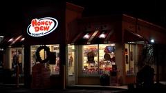 4K Honey Dew donuts coffee shop, late night customers Stock Footage