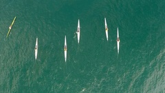 Group of people kayaking in open sea Stock Footage