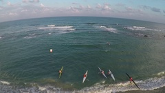 Group of people kayaking in open sea.  Drone view Stock Footage