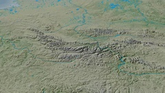 Revolution around Cherskiy mountain range - masks. Topographic map Stock Footage