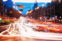 Night Traffic On Lenin Avenue In Gomel, Belarus Stock Photos