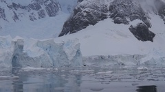 View of the mountains and glaciers in Antarctica Stock Footage