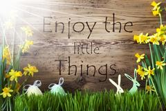 Sunny Easter Decoration, Gras, Quote Enjoy The Little Things Stock Photos