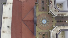 Aerial view of European open space shopping mall outlet Stock Footage