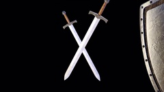 Shield and swords Stock Footage