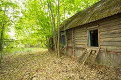 Dilapidated Abandoned Country Blockhouse, Overgrown By Trees, Exclusion Area Stock Photos