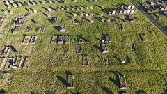 Low aerial view over a cemetery. Stock Footage