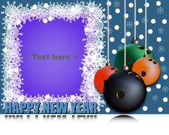 Frame Happy new yearand bowling ball Stock Illustration