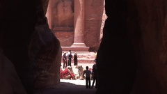The Treasury as seen from al-Siq right before the passage ends Stock Footage