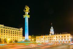 Tbilisi Georgia. Night View Of Illuminated Freedom Square, Liberty Monument Kuvituskuvat