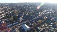 Aerial view of Blackheath, West Midlands. Stock Footage
