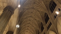 NYC St Patricks Cathedral Inside Pan Stock Footage
