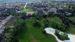 Aerial shot park Calgary Alberta Stock Footage