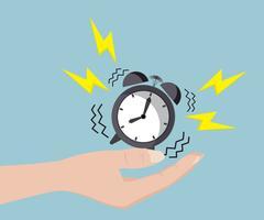 Human Hand with Alarm Clock Stock Illustration