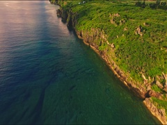 Cape Zanpa rugged coastline from the air Stock Footage
