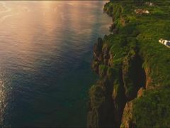 Cape Zanpa rugged coastline from the air Okinawa, Japan Stock Footage