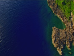Cape Zanpa rugged coastline from the air Okinawa, Japan Stock Footage