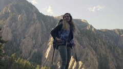 Portrait Of Adventurous Young Woman On Solo Backpacking Trip In Utah Wilderness Stock Footage