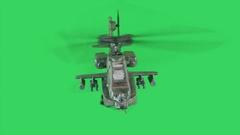 Military gunship flying on greenscreen Stock Footage