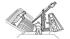 Construction workers and Site manager working under construction site animation Stock Footage
