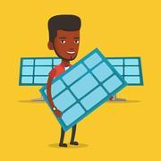 Man holding solar panel vector illustration Stock Illustration