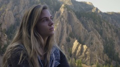 Portrait Of Young Woman Enjoying Nature In Utah Mountains Stock Footage