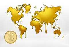 Golden outlines of world map with smudges and big coin Stock Illustration