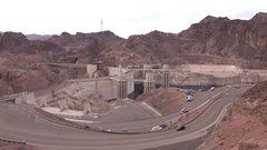 Hoover Dam wide angle view seen from mountain top 4k Stock Footage