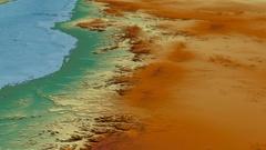 Glide over Hejaz mountain range - masks. Relief map Stock Footage
