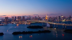 Time-lapse footage of  Tokyo cityscape at night from Odaiba, Tokyo, Japan Stock Footage