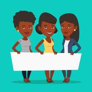 Group of young women holding white blank board Stock Illustration