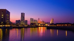Time-lapse footage of  Yokohama cityscape at night, Kanagawa Prefecture, Japan Stock Footage