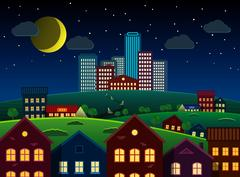 Detailed city and suburbs at night, vector illustration Piirros