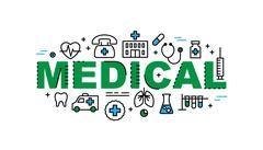 Medical word banner, healthcare industry Stock Illustration