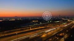 Time-lapse footage of ferris wheel in Tokyo at night, Tokyo, Japan Stock Footage