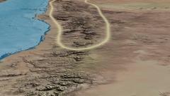 Glide over Hejaz mountain range - glowed. Natural Earth Stock Footage