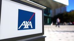 Street signage board with AXA logo. Blurred office center and walking people Stock Footage