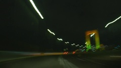 Time-lapse POV footage of car driving in Tokyo at night, Tokyo, Japan Stock Footage