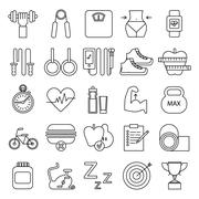 Fitness icons on white Stock Illustration