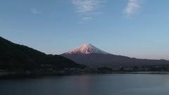 View of Mount Fuji from Lake Kawaguchi, Yamanashi Prefecture, Japan Stock Footage