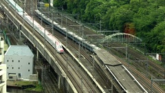 Above view of Bullet trains on railway, Japan Stock Footage